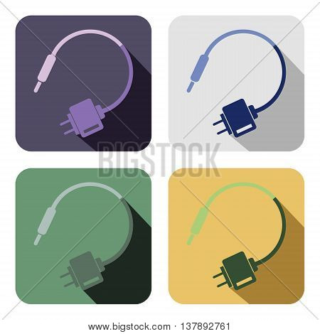 Vector icon. Set of colorful icons of charger isolated on the white background