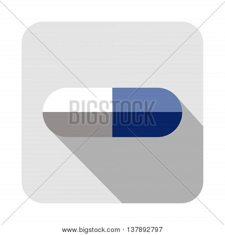 Vector square icon of pill isolated on the white background