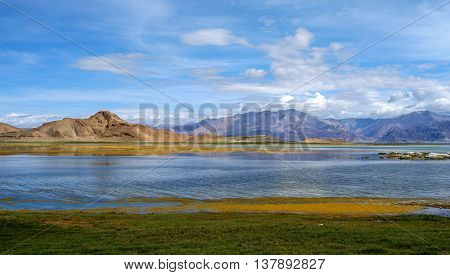 Wetlands and lake forming part of the beautiful landscape of Western Tibet
