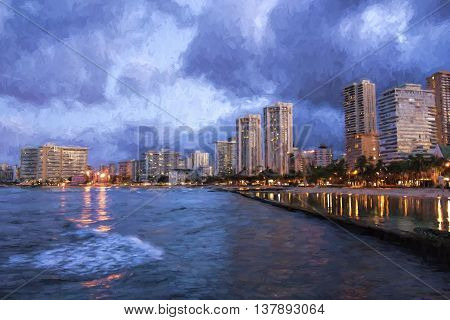 Impressionist view of Honolulu skyline at twilight.