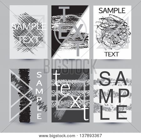 Graphic design backgrounds. Creative universal cards with examples of text. Set of abstract modern templates with geometric shapes and hand drawn textures for banners poster card invitation placard brochure flyer. Vector isolated