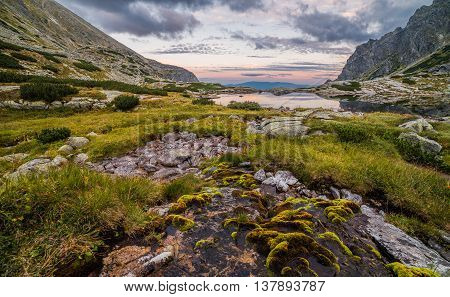 Mountain Landscape with a Tarn in the Evening. Mlynicka Valley High Tatra Slovakia.