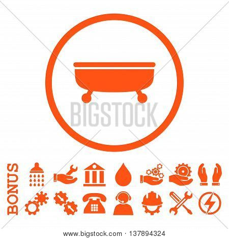 Bathtub vector icon. Image style is a flat pictogram symbol inside a circle, orange color, white background. Bonus images are included.