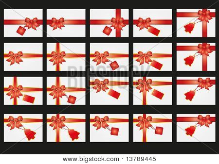 Vector illustration of set of card with ribbon and tags