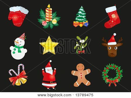 Vector illustration of set of Christmas stickers  on a black background