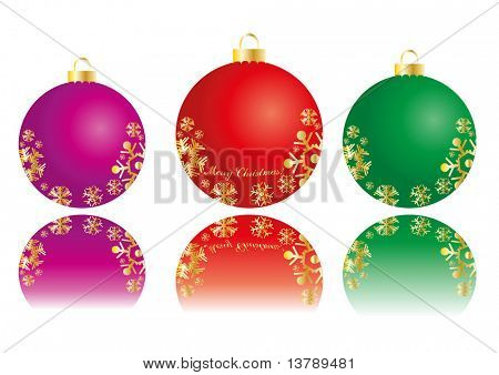 Vector illustration of three color balls with snowflakes