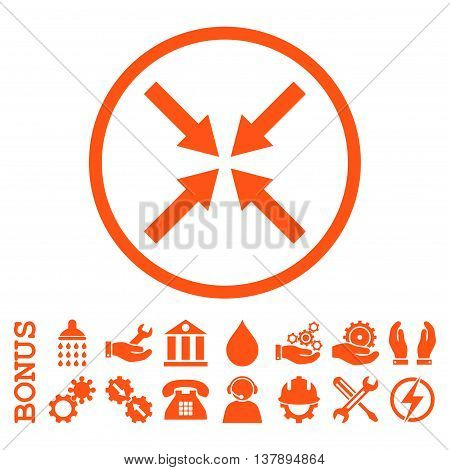 Center Arrows vector icon. Image style is a flat pictogram symbol inside a circle, orange color, white background. Bonus images are included.