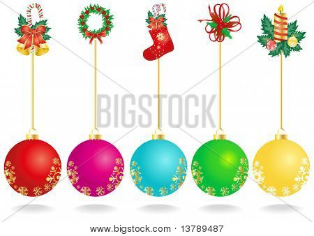 Vector illustration of Christmas decoration with color balls