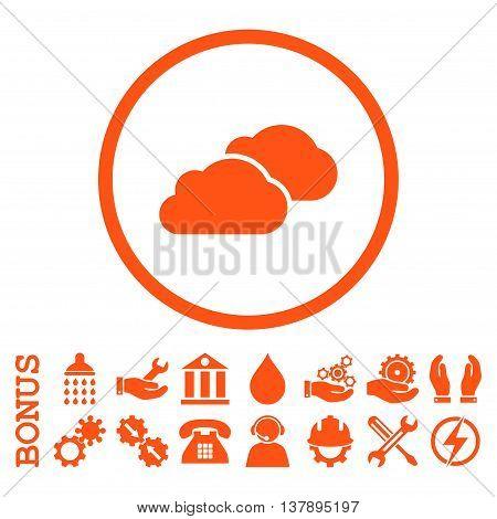 Clouds vector icon. Image style is a flat pictogram symbol inside a circle, orange color, white background. Bonus images are included.