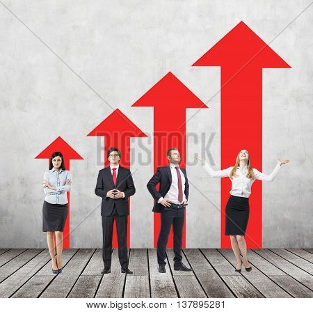 Success concept with young businesspeople and red arrow chart in room with wooden floor and concrete wall