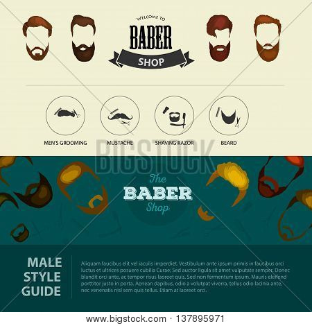 Peoples hairstyle icon, collection of beards and mustaches for barbershop.Mans trendy haircut types for barber shop. Isolated collection of mans beards design, haircut of head heir and mustaches.Hipster hair and beards, fashion vector illustration set.