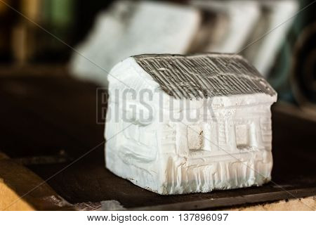 handy craft house statue model made from plaster