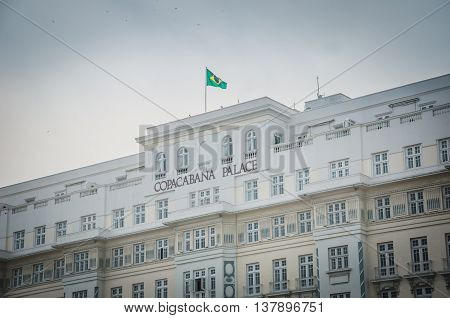 RIO DE JANEIRO BRAZIL - MARCH 06 2016: The Copacabana Palace Hotel is the most famous and luxurious hotel in Rio de Janeiro Brazil