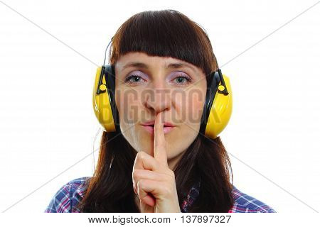Woman Wearing Protective Headphones, Silence Sign