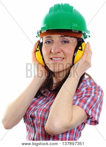 Woman Wearing Protective Helmet And Headphones