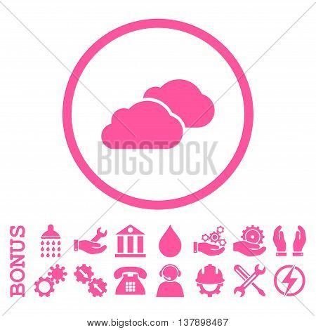 Clouds vector icon. Image style is a flat pictogram symbol inside a circle, pink color, white background. Bonus images are included.