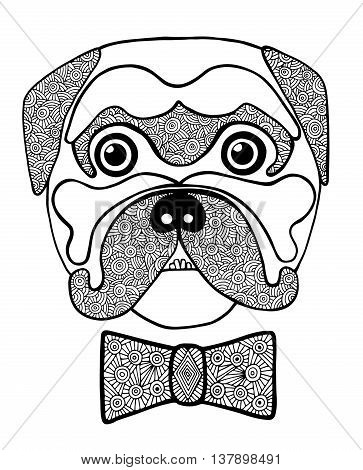 Black line cute dog head with abstract blackly white bow. Hand drawn sketch for adult and children anti stress coloring page T-shirt greeting card. Animal design