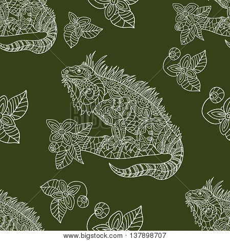 Vector hand drawn iguana. Ethnic tribal styled pattern. Seamless pattern with tropical animals