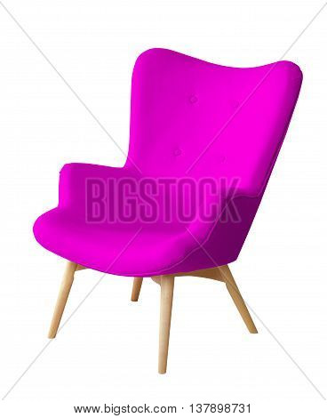 Purple color chair isolated. Designer stool on white background, textile chair cut out. Series of colorful furniture