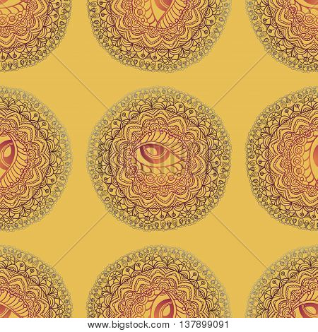 Mandala seamless pattern. All-seeing eye. Islam, Arabic, Indian, ottoman motifs Vector Mandala
