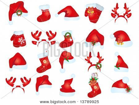 Vector illustration of collection of santa claus hats in different variants