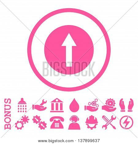 Up Rounded Arrow vector icon. Image style is a flat pictogram symbol inside a circle, pink color, white background. Bonus images are included.