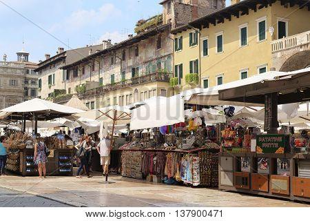 VERONA, ITALY - JULY, 2, 2016: STREET MARKET IN VERONA - ONE OF THE MOST BEAUTIFUL ITALIAN CITIES