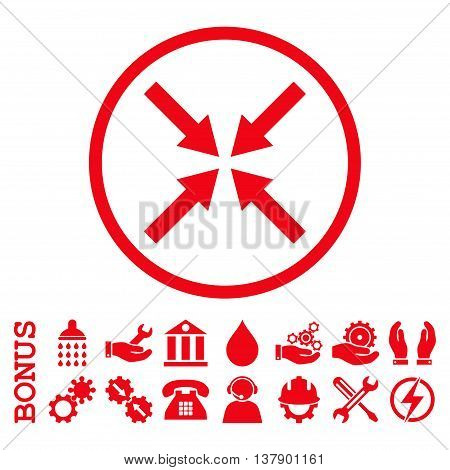 Center Arrows vector icon. Image style is a flat pictogram symbol inside a circle, red color, white background. Bonus images are included.