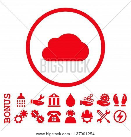 Cloud vector icon. Image style is a flat pictogram symbol inside a circle, red color, white background. Bonus images are included.