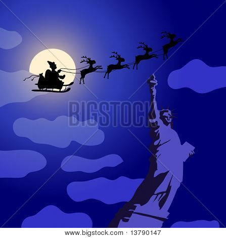 Vector illustration of Santa Claus with reindeers flying over America