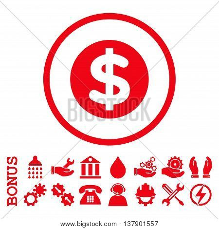 Finance vector icon. Image style is a flat pictogram symbol inside a circle, red color, white background. Bonus images are included.