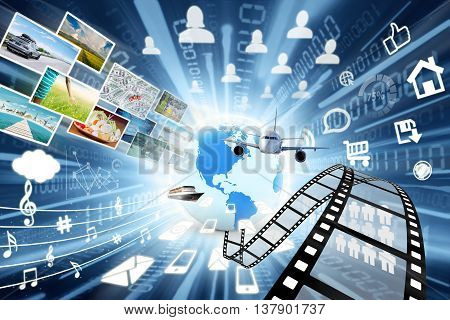 Image of high speed of online data transfers in multimedia sharing concept