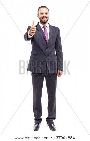Handsome business man thumbs up, isolated on white background