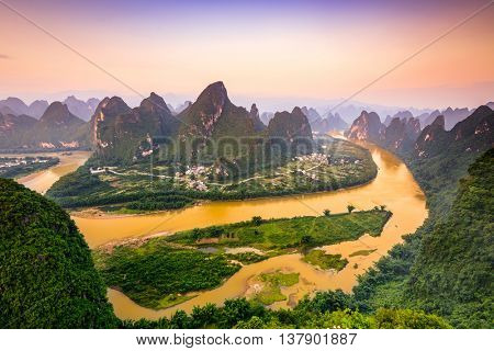 Karst Mountains of Xingping, Guilin, China.