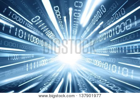 Concept of high speed internet connection with binary stream