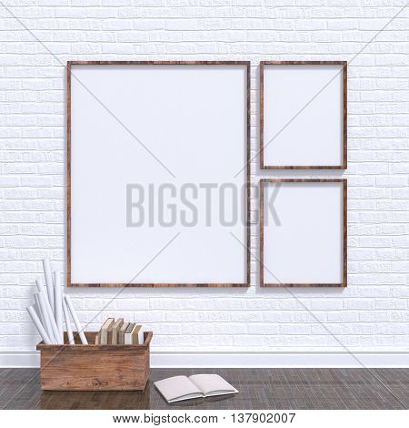 Mock up posters frames in art atelier with wooden bow full of old books 3D render illustration