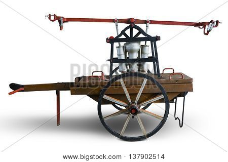 Image of historic old handcar looks antique in the studio isolated on white background