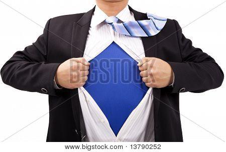 Unternehmer mit Mut und Superman-Konzept.Isoliert mit weißem Hintergrund.