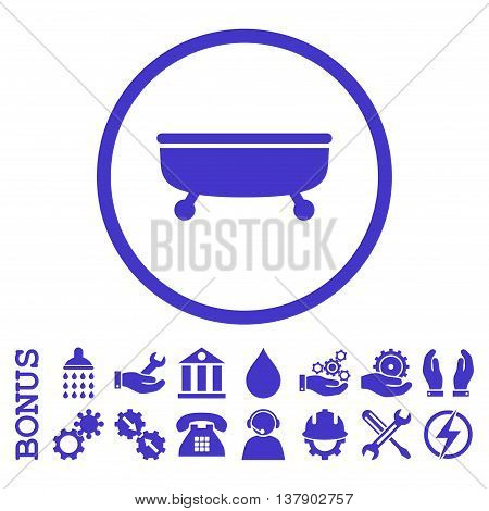 Bathtub vector icon. Image style is a flat pictogram symbol inside a circle, violet color, white background. Bonus images are included.
