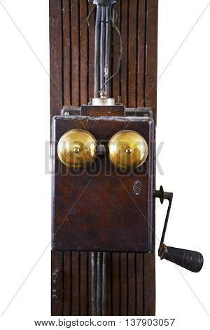 Image of old electrical switch looks antique isolated on white background