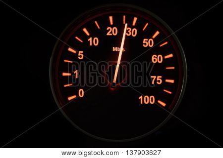 Close up of speedometer testing the internet connection with speed up to 26 Mbps