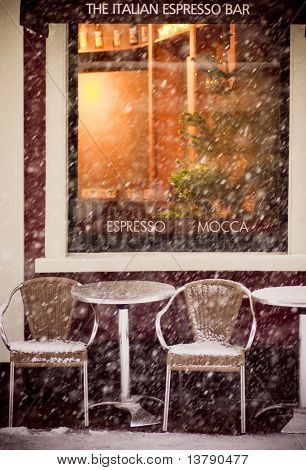 Coffee Shop In A Winter
