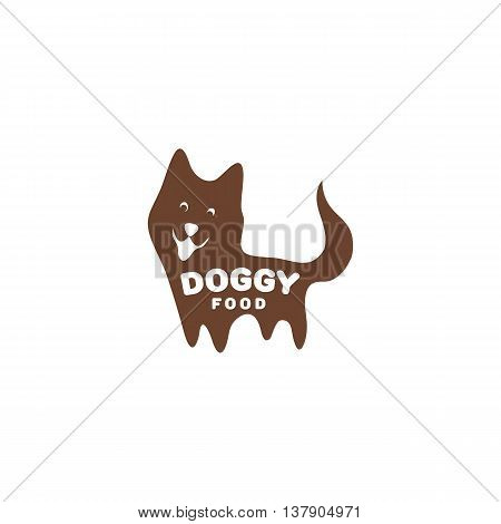 Isolated brown puppy vector illustration with doggy writing. Cheerful greeting pet logo. Cartoon dog logotype. Domestic animal icon.