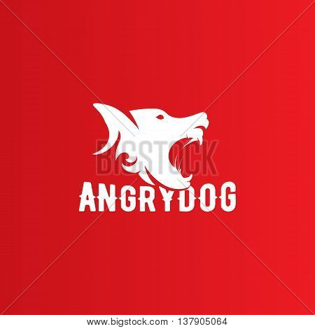 Isolated angry barking dog side view vector logo. Dangerous animal contour logotype. Fighting club emblem. Hound and watchdog illustration. White and red color.