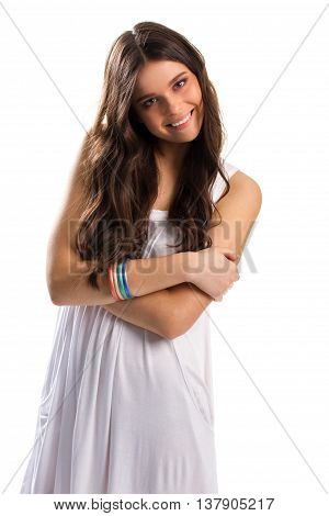 Woman in sundress is smiling. Sarafan and bright bracelets. Smile of joy. When happiness fills you.