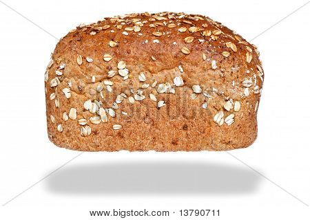 Loaf Wholemeal Bread Isolated On Awhite Background.