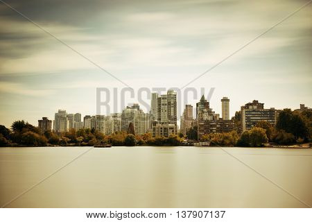 Vancouver city skyline viewed from Stanley Park.