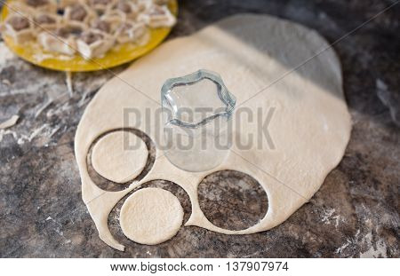 Prepare raw homemade russian food - dumpling. Their in flower and have traditional form. Pork chicken mincemeat. Background table in kitchen.