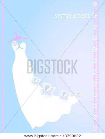 Vector illustration of white dress with flowers for wedding