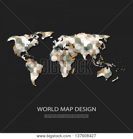 Abstract World Map Made of Colorful Pattern